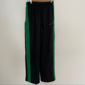Nike Dri-fit black and green track pants